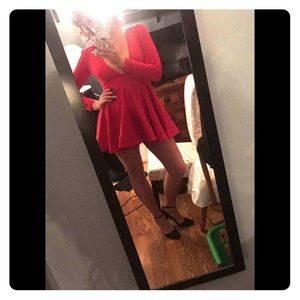 Red Long Sleeve Plunging Neckline Mini Dress